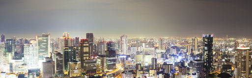 Panoramic view of skyline in Osaka, Japan Stock Photography