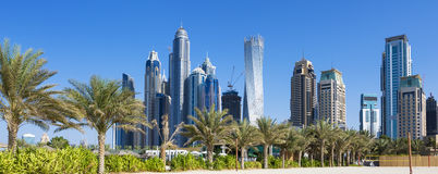 Panoramic view of skyscrapers and jumeirah beach Stock Photography