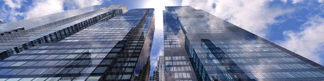 Panoramic view of skyscrapers. Modern high-rise buildings against the sky Stock Photos