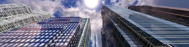 Panoramic view of skyscrapers. Modern high-rise buildings against the sky Royalty Free Stock Photo