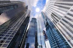 Panoramic view of skyscrapers. Modern high-rise buildings against the sky Stock Image