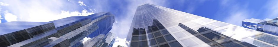 Panoramic view of skyscrapers. Modern high-rise buildings against the sky Royalty Free Stock Image