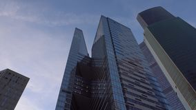 Panoramic view of skyscrapers. Movement of the frame from the bottom up and back stock video