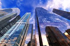 Panoramic view of skyscrapers. Modern high-rise buildings against the sky Stock Images