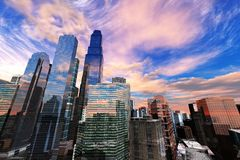 Panoramic view of skyscrapers. Modern high-rise buildings against the sky Stock Photo