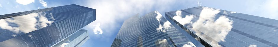 Panoramic view of skyscrapers. Modern high-rise buildings against the sky Royalty Free Stock Images