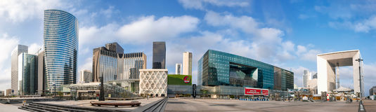 Panoramic view of skyscrapers in Paris La Defense district on mo Stock Images