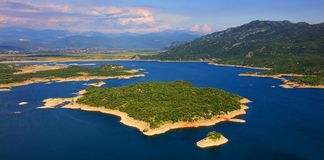 Panoramic view of Slansko jezero near town of Niksic. The artificial lake Slansko Jezero or Salt lake near Niksic city. Montenegro, Europe Stock Images
