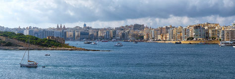 A panoramic view of Sliema coastline across the Marsamxett Harbo Royalty Free Stock Photography