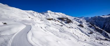 Panoramic view of the slopes of Orcieres-Merlette ski resort in Winter. Hautes-Alpes, Champsaur, Alps, Franc. Panoramic view of the slopes of Orcieres-Merlette royalty free stock images