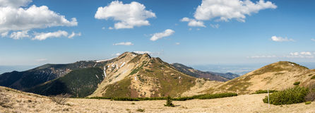 Panoramic view from slovak Little Fatra hills. Panoramic view from Little Fatra hills – Little Krivan peak and blue sky with clouds. Slovakia, Europe Stock Photography