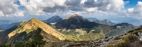 Panoramic view from slovak autumn Little Fatra hills National Pa. Panoramic view from slovak Little Fatra hills National Park - beautiful autumn landscape under Stock Photos