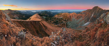 Panoramic view of Slovakia mountain at autumn - Low Tatras - Dum Royalty Free Stock Images