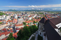 Panoramic view of Slovenian capital Ljubljana Royalty Free Stock Photo
