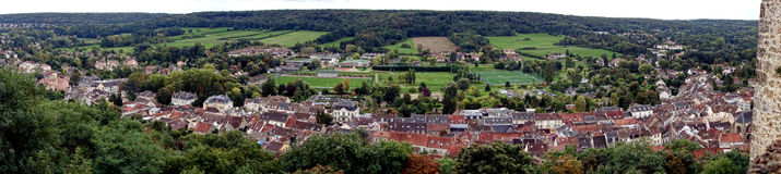 Panoramic View of a Small French Town in a Valley Royalty Free Stock Image