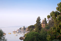 Panoramic view of small Mediterranean port Royalty Free Stock Photo