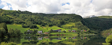 Panoramic view of small norwegian village. Stock Images