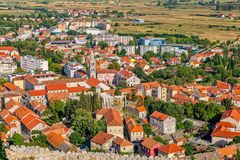Sinj panoramic view. Panoramic view of small picturesque town Sinj in Croatia, Europe Stock Photos