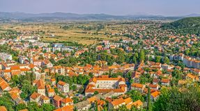 Sinj panoramic view. Panoramic view of small picturesque town Sinj in Croatia, Europe Stock Image