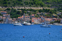 Panoramic view of  small picturesque  town of Vis Stock Photos