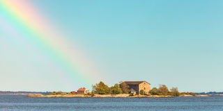 Panoramic view of a small Swedish island in Karlskrona Stock Photography
