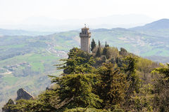 Panoramic view of a small tower Montale from the fortress Guaita Royalty Free Stock Images