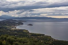 Panoramic view of traditional fishing village of Mochlos, Crete, Greece. Panoramic view of small traditional fishing village of Mochlos, Crete, Greece Royalty Free Stock Photo
