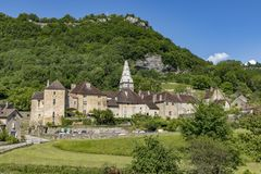 Panoramic view of small village Baume les Messieurs royalty free stock photos