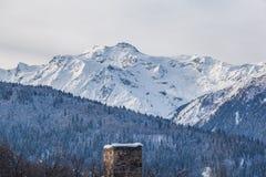 Panoramic view on snow winter mountains. Caucasus Mountains. Sva. Neti region of Georgia Royalty Free Stock Images