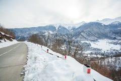 Panoramic view on snow winter mountains. Caucasus Mountains. Sva. Neti region of Georgia Royalty Free Stock Photo