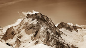 Panoramic view on snow winter mountains Royalty Free Stock Image