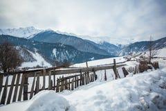 Panoramic view on snow winter mountains. Caucasus Mountains. Sva. Neti region of Georgia Stock Photos