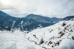 Panoramic view on snow winter mountains. Caucasus Mountains. Sva. Neti region of Georgia Stock Image