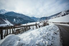 Panoramic view on snow winter mountains. Caucasus Mountains. Sva. Neti region of Georgia Royalty Free Stock Photography