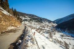 Panoramic view on snow winter mountains. Caucasus Mountains. Sva. Neti region of Georgia Royalty Free Stock Photos