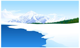 Panoramic view of a snowcapped. Landscape Stock Image