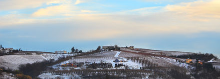 Panoramic view on snowy hills. Stock Photography
