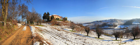 Panoramic view on snowy hills. Royalty Free Stock Images