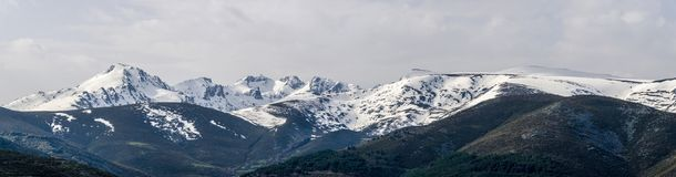 Snowy panoramic landscape in a mountain range with virgin snow i Royalty Free Stock Photo