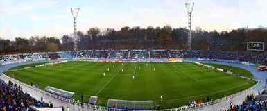 Panoramic view of soccer stadium Royalty Free Stock Images