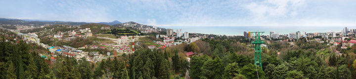 Panoramic view of Sochi city - resort at Black Sea coast of Russia, Krasnodar krai. stock photo