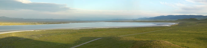 Panoramic view of Soda Lake at sunset from the Carrizo National Monument, the US Department of Interior, in Southern California Royalty Free Stock Image