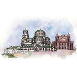 The panoramic view of Sofia   watercolor Royalty Free Stock Photos