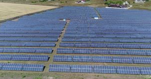 Panoramic view of a solar power plant, rows of solar panels, solar panels, top view, Aerial view to solar power plant stock footage