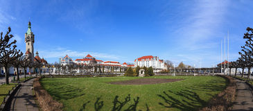 Panoramic view of Sopot. Sopot city panorama seen from the pier, Poland Royalty Free Stock Image