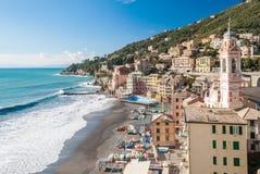 Panoramic view of Sori, small village near Genoa Stock Photography