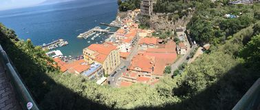 Panoramic view of Sorrento along the Amalfi Coast of Italy on the Mediterranean. Cityscape and panoramic view of Sorrento along the beautiful Amalfi Coast of royalty free stock images