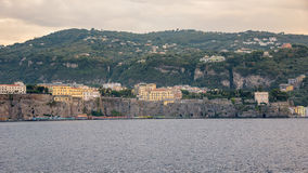 Panoramic view of Sorrento coast at sunset. Campania, Italy royalty free stock images