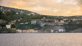 Panoramic view of Sorrento coast at sunset. Campania, Italy stock image