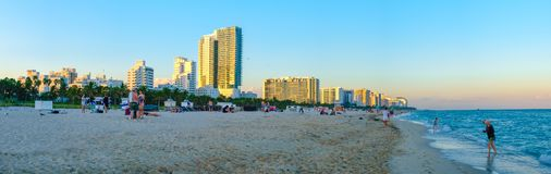 Panoramic view of South Beach in Miami at sunset royalty free stock photography